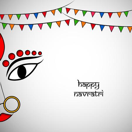 Illustration of Goddess Durga for the occasion of Hindi Festival Navratri.