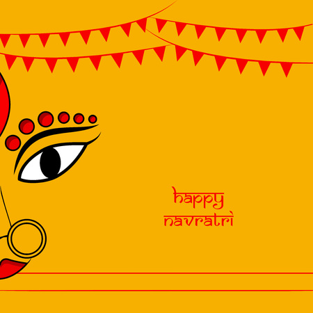 Illustration of Goddess Durga for the occasion of Hindi Festival Navratri.