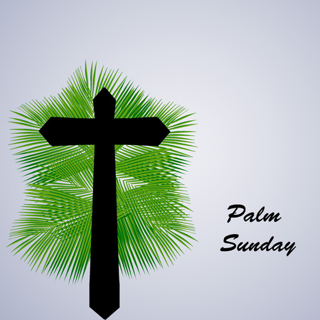 Illustration of Cross with Palm Leaves for Palm Sunday