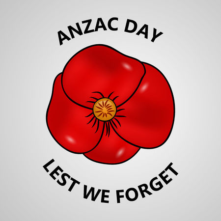 illustration of Anzac Day background. Anzac Day -  national day of remembrance in Australia and New Zealand red flower Vector illustration.