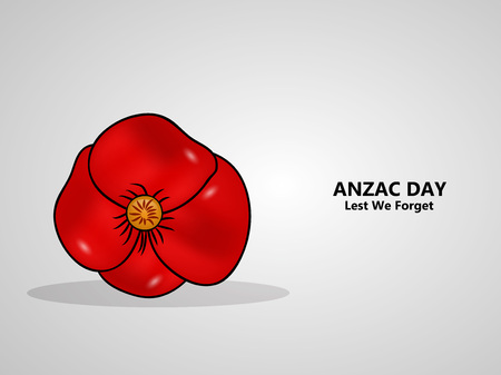 illustration of Anzac Day background. Anzac Day  -  national day of remembrance in Australia and New Zealand red flower Vector illustration. Ilustração