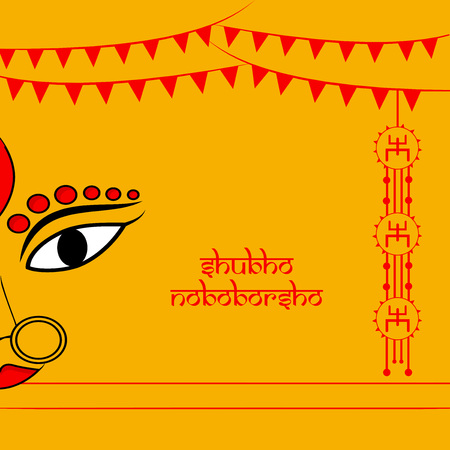Illustration of background for Indian festival State west bengal, Bengali new year