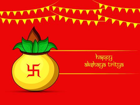 Vector illustration of Indian Hindu festival with golden pot.