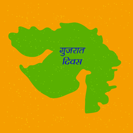 Illustration of Indian State Gujarat map with Hindi text Jai Gujarat meaning long live Gujarat.
