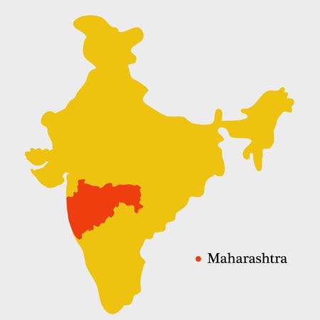 Illustration of India map showing Indian State Maharashtra with Hindi text Jai Maharashtra meaning long live Maharashtra  イラスト・ベクター素材