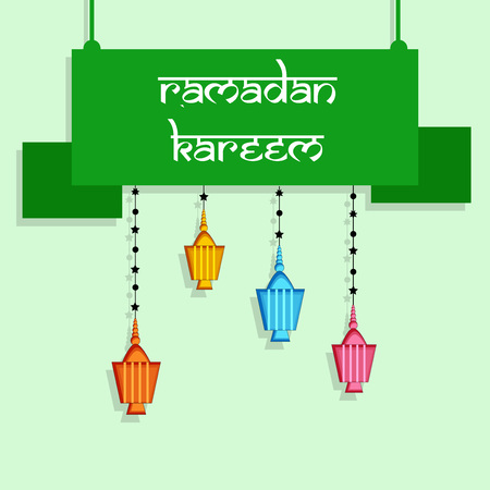 Illustration of Muslim festival Eid Ramadan background with colorful lanterns.