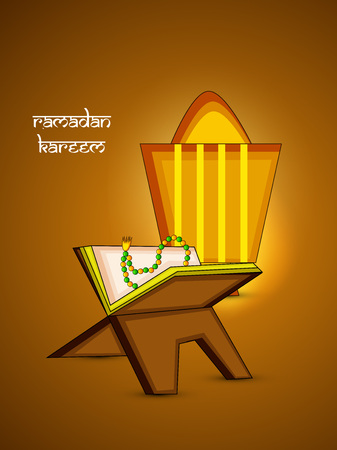 Illustration of Muslim festival, Ramadan with koran book design. Illustration