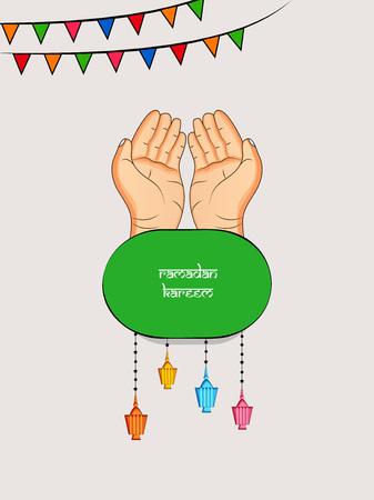 Illustration of Muslim festival EidRamadan background with 2 hands and hanging lanterns. Illustration