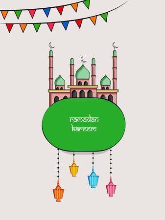 Illustration of Muslim festival EidRamadan background with mosque and hanging lanterns.