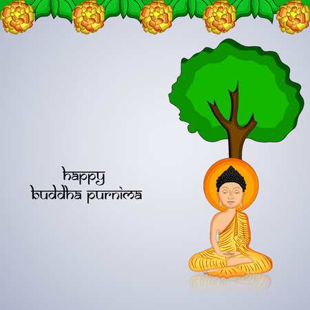 Illustration of background for Hindu Buddhism festival Buddha Purnima