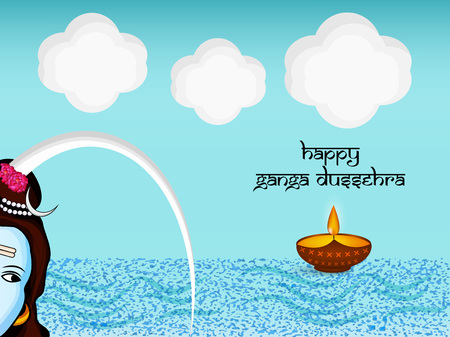 Illustration of background for the ocassion of Hindu festival Ganga Dussehra Foto de archivo - 102335421