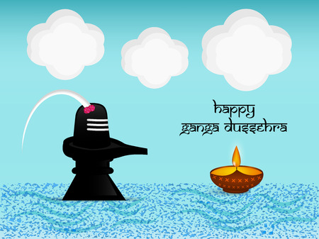 Illustration of background for the ocassion of Hindu festival Ganga Dussehra