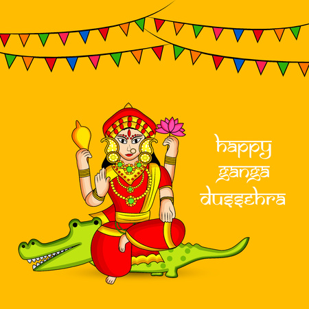 Illustration of background for the ocassion of Hindu festival Ganga Dussehra Illustration