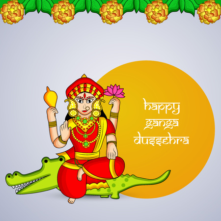 Illustration of background for the ocassion of Hindu festival Ganga Dussehra Foto de archivo - 102335428