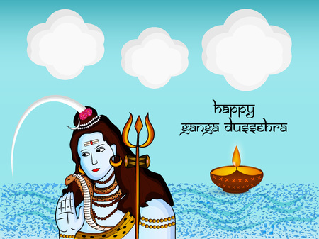 Illustration of background for the ocassion of Hindu festival Ganga Dussehra Vectores