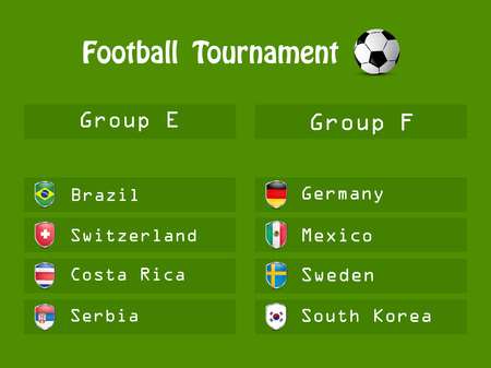 Illustration of shield with different country flags participating in Football Tournament