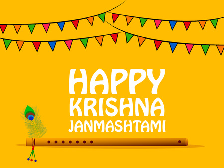 Illustration of background for the occasion of hindu festival Janmashtami celebrated in India