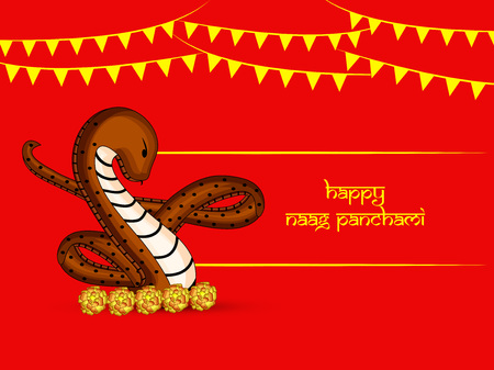 Illustration of background for the occasion of hindu religious festival Naag Panchami celebrated in India