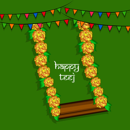 Illustration of background for the occasion of religious  festival Teej celebrated in India Çizim
