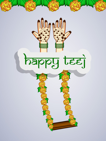 Illustration of background for the occasion of hindu festival Teej celebrated in India Çizim