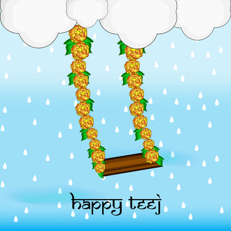 Illustration of background for the occasion of religious  festival Teej celebrated in India Illustration