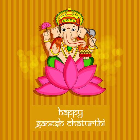 illustration of Hindu God Ganesh with happy Ganesh Chaturthi text on the occasion of Hindu Festival Ganesh Chaturthi Illustration