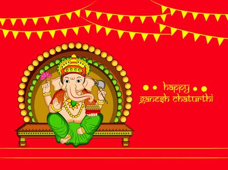 illustration of Hindu God Ganesh with happy Ganesh Chaturthi text on the occasion of Hindu Festival Ganesh Chaturthi Stock Illustratie