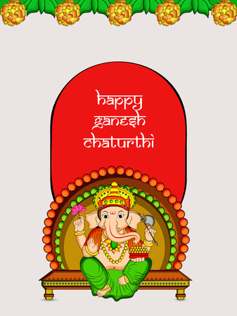 illustration of Hindu God Ganesh with happy Ganesh Chaturthi text on the occasion of Hindu Festival Ganesh Chaturthi Illusztráció