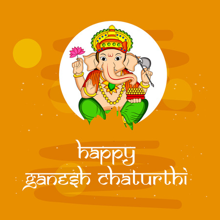 illustration of Hindu God Ganesh with happy Ganesh Chaturthi text on the occasion of Hindu Festival Ganesh Chaturthi Illustration