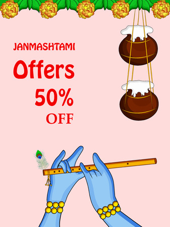 Illustration of background for the occasion of Hindu festival Janmashtami