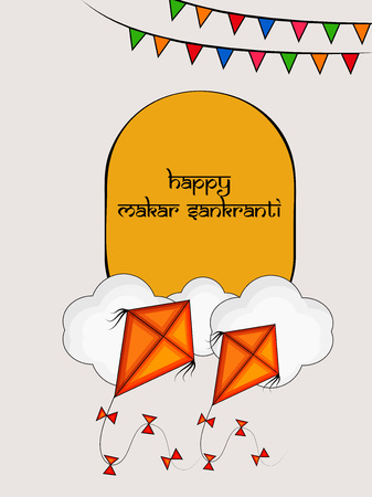 illustration of background for the occasion of hindu festival Makar Sankranti celebrated in India
