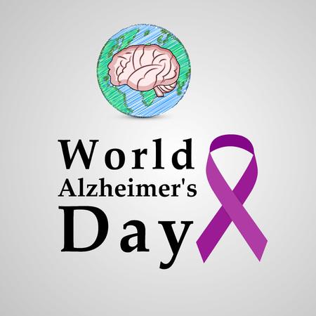 illustratie van elementen van Wereld Alzheimer Dag Achtergrond Vector Illustratie