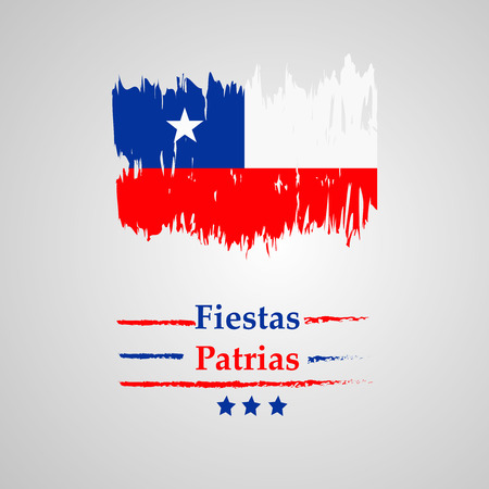 illustration of elements of Chile's National Independence Day Fiestas Patrias background  イラスト・ベクター素材