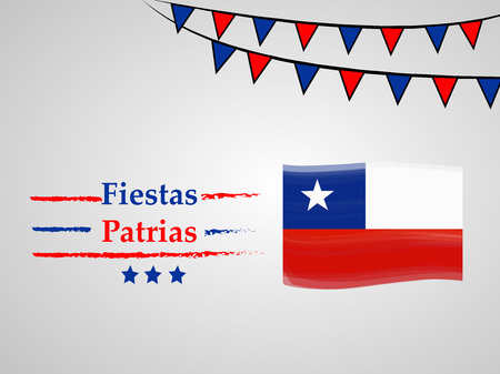 illustration of elements of Chile's National Independence Day Fiestas Patrias background 向量圖像