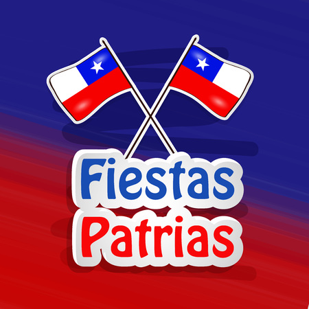illustration of elements of Chile's National Independence Day Fiestas Patrias background Çizim