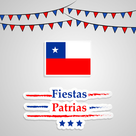illustration of elements of Chile's National Independence Day Fiestas Patrias background