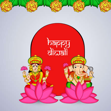 illustration of elements of hindu festival Diwali background