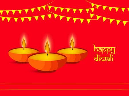illustration of elements of hindu festival Diwali background Çizim