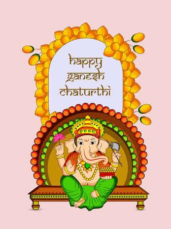 illustration of elements of Hindu Festival Ganesh Chaturthi background