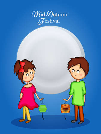 illustration of elements of Mid Autumn Festival background