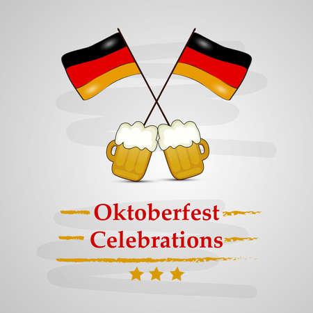 illustration of elements of beer festival Oktoberfest background