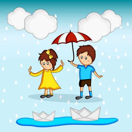 Monsoon season background Vektorové ilustrace