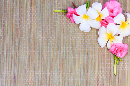 floor mats: The floor mats with pink and white flowers. Stock Photo