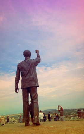 nelson: Nelson Mandela statue on Naval Hill South Africa