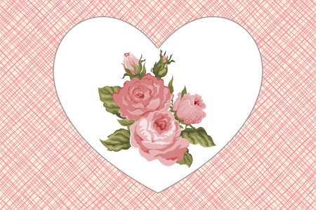 Vintage Pink flower hearts card with roses