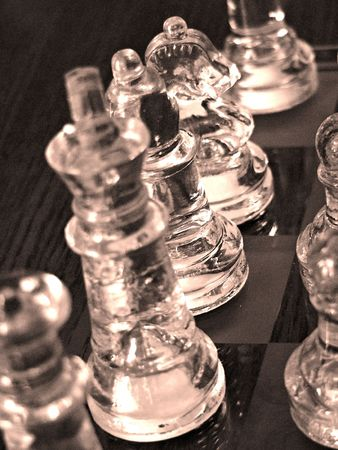 Chess pieces all lined up for the battle