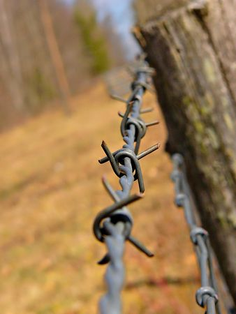 Barbed wire in a country setting photo