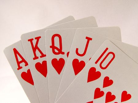 Hand of Playing Cards, A K Q J 10 of Hearts Reklamní fotografie