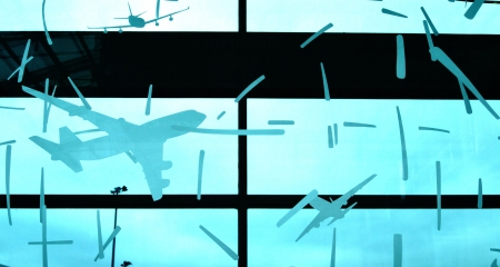 One airport glass wall decoration as aviation promotion