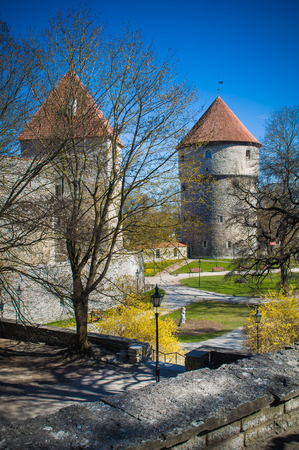 Medieval Tower Kiek-in-de-Kok In Park On Hill Toompea. Tallinn, Estonia.